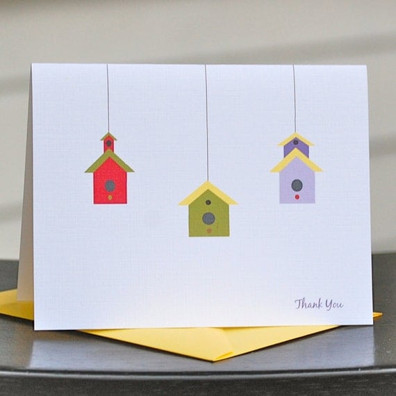Bird Houses, Bird House Thank You Cards, Birdhouse Note Cards, Birdhouse Thank You Notes, Birdhouse stationery