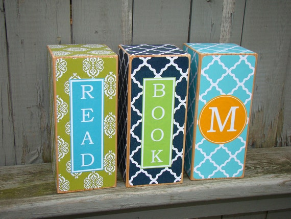 Design Your own Pair of Bookends - personalized wooden decor