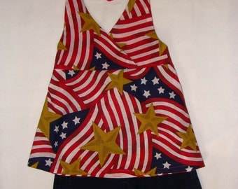 Patriotic, Flag, Halter Top, 4th of July, Red and White, Military homecoming, summer, July 4th