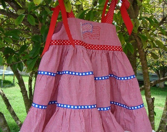 Girl's Patriotic dress. Red Dress, July 4th dress. 4th of July, Military homecoming, todder dress, sundress