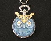Steampunk Owl Pocket Watch Necklace