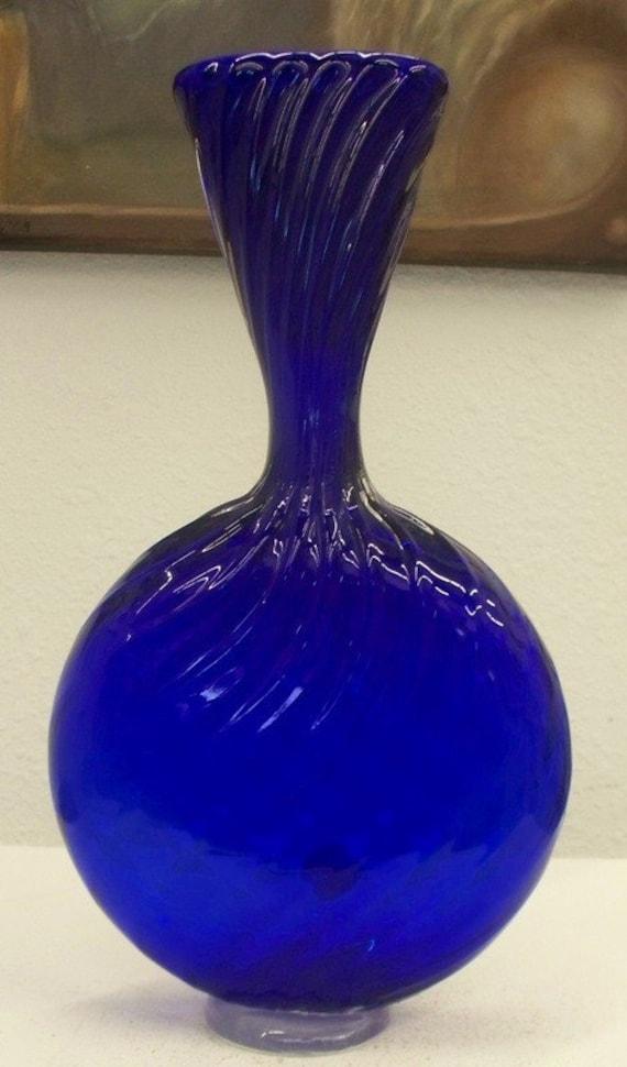 SALE  Hand Blown Glass Art Vase Bowl Tall Blue Flattened