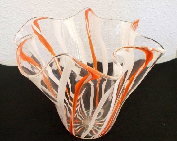 Hand Blown Glass Art Vase  Orange and White Cane  2496  SALE