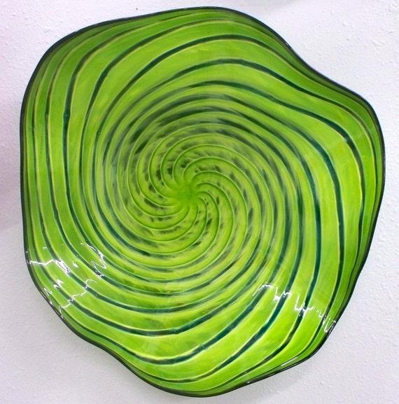 Beautiful Hand Blown Glass  Art Wall Platter  Bowl Green Swirl 2592 Oneil