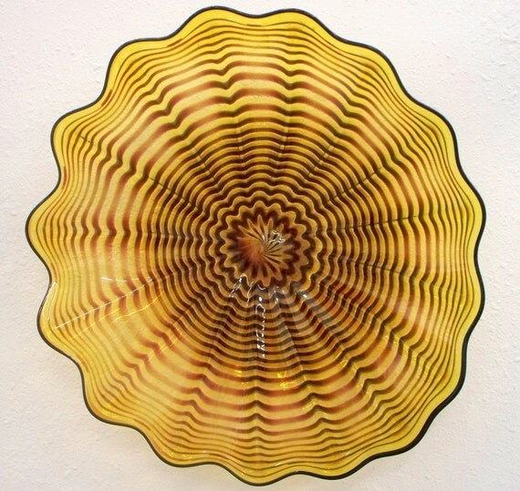 Beautiful Hand Blown Glass Art Wall Platter Gold Spiral Wrap 2678 ONEIL