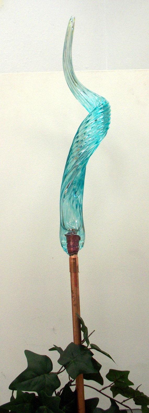 Hand Blown Glass Art Garden Crystal Aqua Blue  Oneil 2744