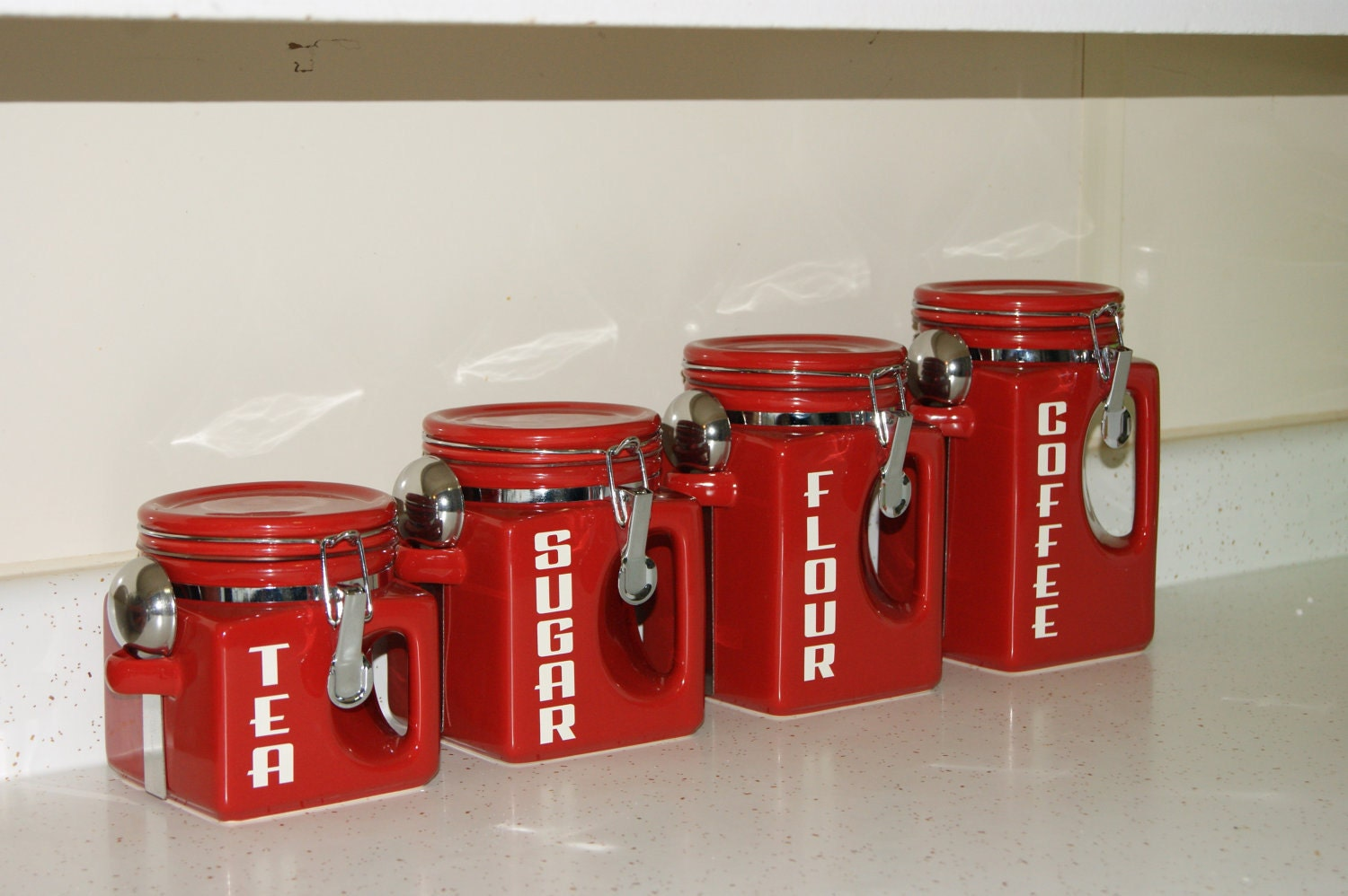Ceramic kitchen canister set red coffee tea sugar flour jars for Kitchen set red