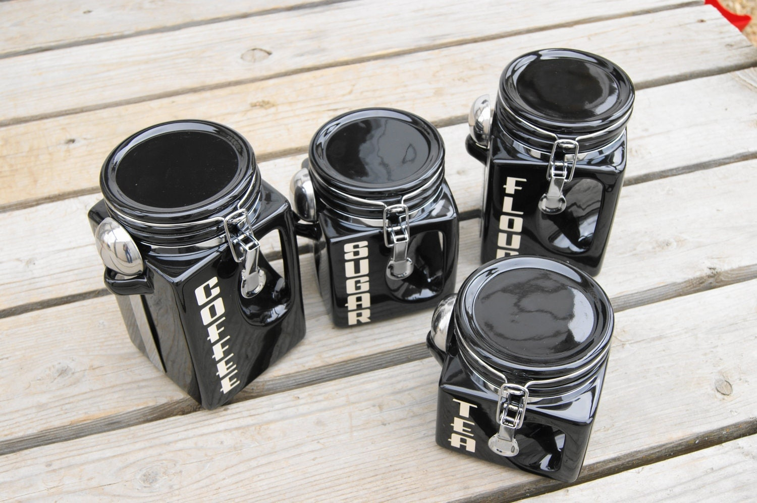 cheap kitchen canister sets ceramic kitchen canister set black coffee tea sugar flour jars 8060