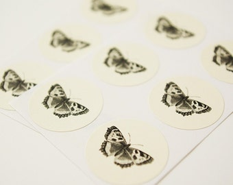 Butterfly Envelope Seal Stickers in Ivory - Set of 48