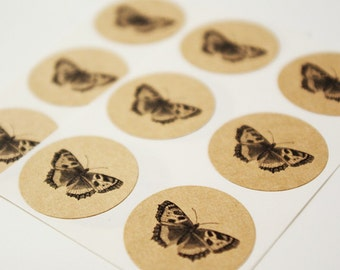 Butterfly Envelope Seal Stickers in Brown Kraft - Kraft Envelope Seals, Round 1 Inch Envelope Seals, Butterfly Stickers