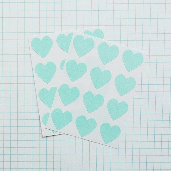Green Heart Envelope Seal Stickers - Set of 24