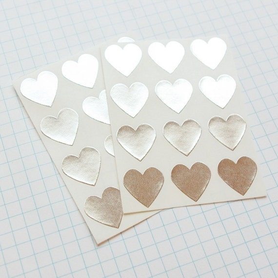 Silver Heart Envelope Seal Stickers - Heart-Shaped Stickers, Heart Labels, Metallic Silver, Silver Heart, Gift Wrapping