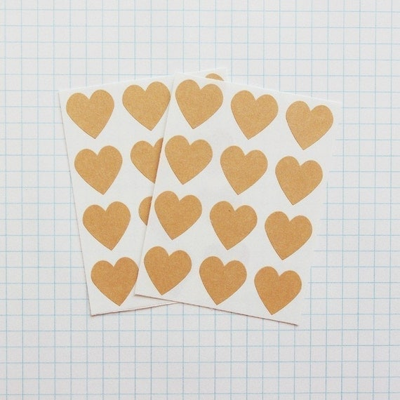 Brown Kraft Heart Envelope Seal Stickers - Heart-Shaped Stickers, Heart Labels, Kraft Stickers, Gift Wrapping