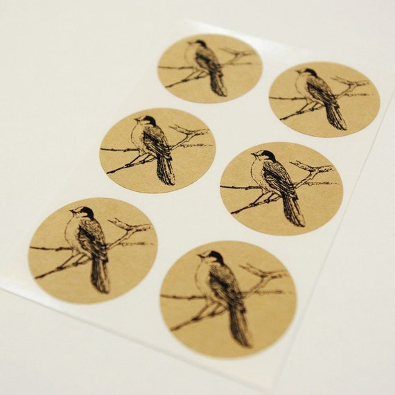 Bird Envelope Seal Stickers in Brown Kraft