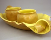 Banana Split Condiment Set in Banana and Lemon Yellow