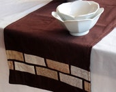 Table Runner in Chocolate and Cream