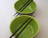 Pair of Chopstick Bowls in Graphite and Apple Green