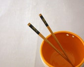 Children's Chopstick Bowl in Farmhouse White and Clementine by Nstarstudio