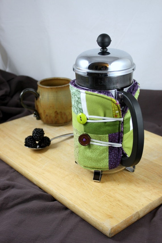 French Press Coffee Cozy in Green, Purple and White by Nstarstudio