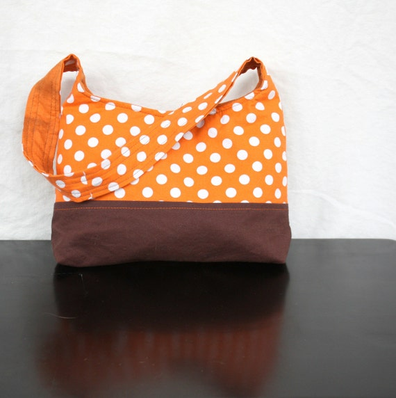 The Harriet Bag by Nstarstudio - Small Shoulder Purse in Brown and Orange Polka Dot Cotton