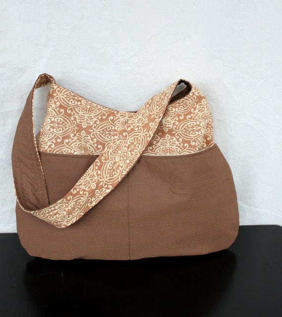 The Millie Bag by Nstarstudio - Boho Shoulder Purse - in Brown and Art Nouveau Cotton Fabric