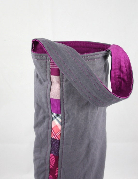 Patchwork Wine Tote Bag - Wine Carrier - in Pink and Magenta by Nstarstudio