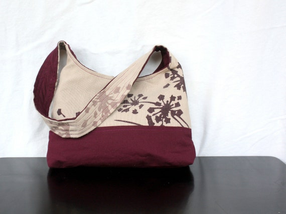 The Harriet Bag by Nstarstudio - Small Shoulder Purse in Upcycled Screen Printed Floral and Burgundy Cotton