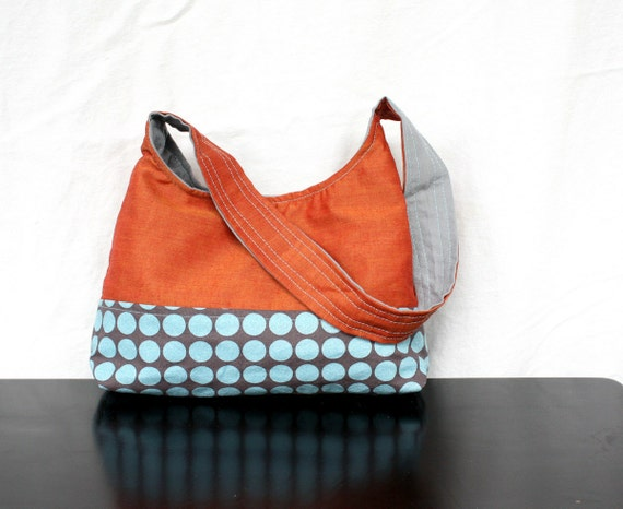 The Harriet Bag by Nstarstudio - Small Shoulder Purse in Upcycled Orange fabric with Gray and Light Blue Polka Dot Cotton