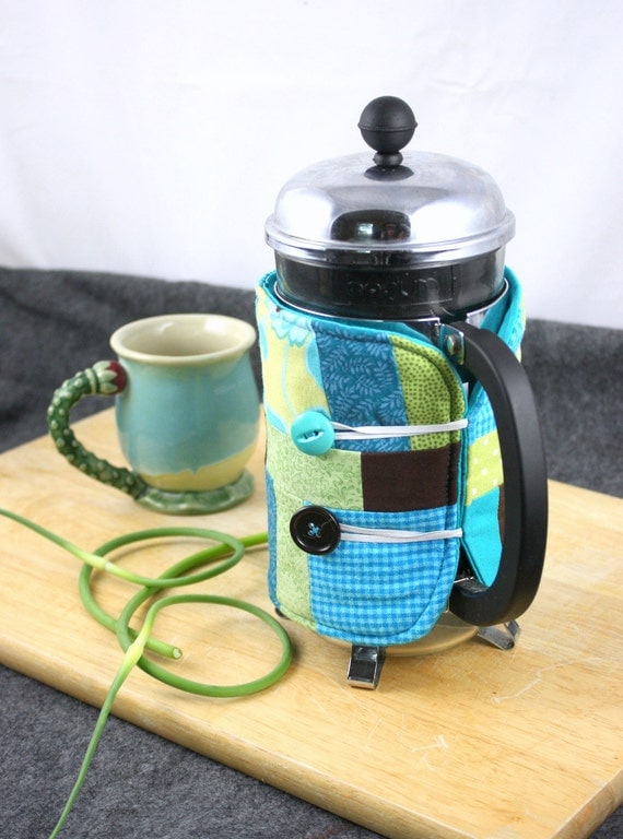 French Press Coffee Cozy in Teal, Aqua, Lime Green and Brown by Nstarstudio