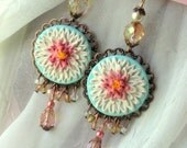 Sale Sculpted Dahlia Earrings - Antique Copper Filigree Pendant with Czech Glass and Pearl accents