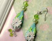Sculpted Aqua and Lime Summer Daisy Earrings - Jewelry with Swarovski Accents