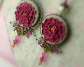 Sale Fuchsia Peony Earrings - Antique Bronze Filigree Pendant with Swarovski Crystal and Pearl accents