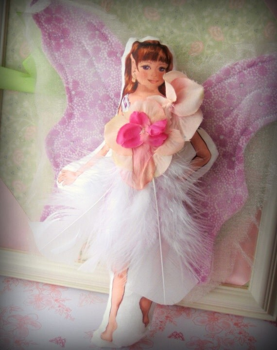 FrivolTees Fairy Fashion - Vintage style Paper Doll Concept - White Feathers and Pink Petals