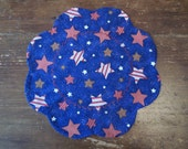 Navy Blue Patriotic Stars Candlemat