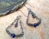 Iolite and Blue Aventurine Earrings in Sterling Silver