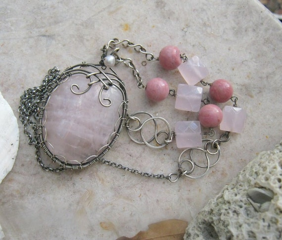 Rose quartz pendant necklace with rhodonite in sterling silver