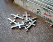 Custom listing - 200 pieces Antique Silver Metal Little Cross Charms - 10mm