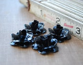8 Black Enamel Metal Rose Flower Cabochons - 22mm