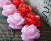 Valentine - Sample Pack Red and Pink - 8 Tiny Rose Flower Flat Back Plastic Cabochons - 10mm