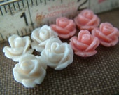 Blush - Sample Pack Off White and Peach - 16 Tiny Rose Flower Flat Back Plastic Cabochons - 10mm