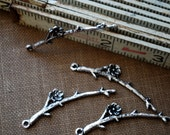 16 pieces Antique Silver Tree Branch Charms - 47mm - Nickel Free