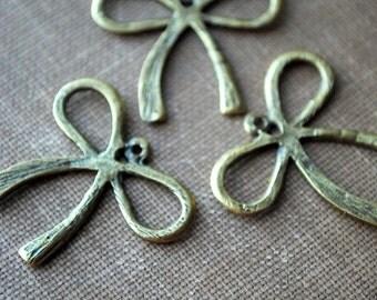 4 pieces Antique Bronze Large Bow Pendant Charm - 32mm