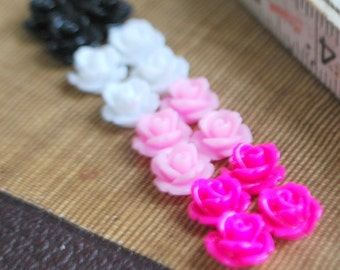 16 Mulit-Colored Tiny Rose Flower Flat Back Plastic Cabochons - Pink, White, Black - Argyle Mix - 10mm