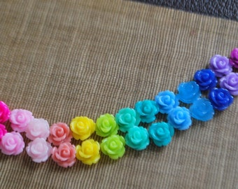 30 Tiny Rose Flower Flat Back Plastic Cabochons - Sample Pack - Multi Color Mix A - 10mm