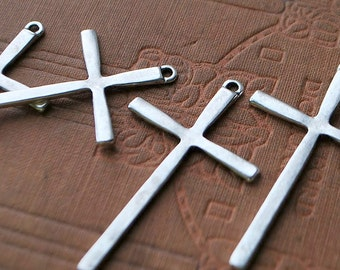 8 pieces Antique Silver Cross Charms - 61mm x 36mm
