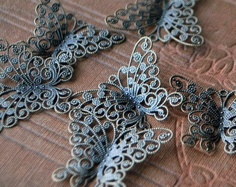 8 pieces Antique Bronze Filigree Butterfly Findings/Charms - 27mm x 35mm - Nickel Free