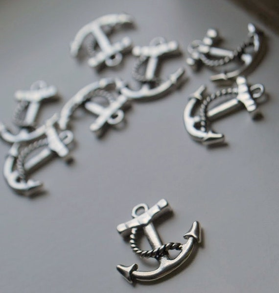 8 pieces Antique Silver Anchor Charms - 23mm - Nickel Free