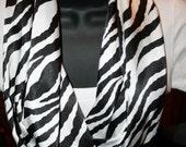 Zebra Print Soft Satin Infinity Scarf - Skin Print - Black  White - Washable - Fabric Scarf - Professional - Dressy - Classic - Wild - Satin