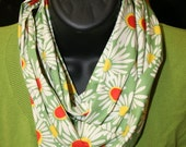 Retro daisy print with green, red orange, white and yellow gold infinity scarf