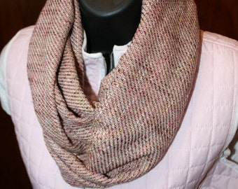 Herringbone Silk Rayon Linen Menswear Inspired  Infinity scarf - Fashion Scarf - Hippie Scarf - Circle Scarf - Pink Brown Khaki - Multicolor